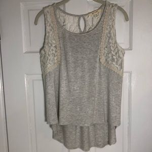 Lace Accented Grey Tank Top